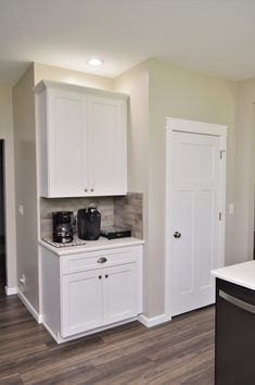 Bailey's Cabinets, BaileyTown USA Select, Maple, White finish, Rentown door style Kitchen Cabinetry, Baileys, White Cabinets, Kitchens, Doors, Usa, Home Decor, Style, Kitchen Cabinets