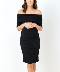 Black Maternity Off-Shoulder Dress