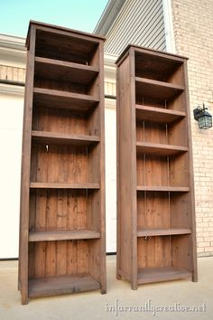 DIY Pine Bookshelves CUT LIST FOR 83 HEIGHT 2 – @ 80 (sides) 4 – @ 11 (side trim) 4 – @ 82 (legs) 4 – @ 21 (top supports and bottom shelf trim) 6 – @ 21 (shelves) 8 – @ 21 (shelf trim) 6 – @ (top) 7 – 3 wide planking or @ long (back) Building Furniture, Furniture Projects, Home Projects, Home Furniture, Woodworking Furniture, Woodworking Jigs, Woodworking Techniques, Trendy Furniture, Woodworking Projects