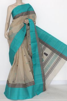 Fawn Handwoven Bengal Tant Fine Cotton Saree (Without Blouse) 14201