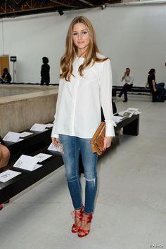 Olivia Palermo bei der Veronique Leroy-Modenschau am 28. September 2013 in Paris. Ein lässiger und trendiger Look.