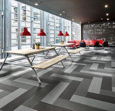 DOMOTEX Carpet flooring, fibers and yarns Carpet Tiles, Carpet Flooring, Carpet Design, Floor Design, Break Room, Office Interiors, Interior Design Inspiration, Dining Bench, Fiber