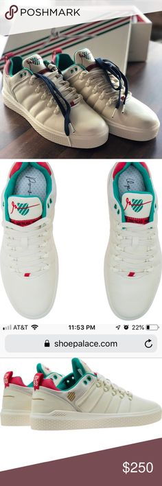6b05b219ce87 Gary Vee KSWISS Shoe Palace Limited Edition Shoes Color  Antique  White Red Green