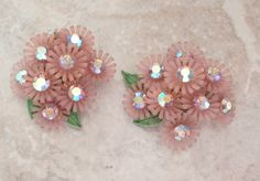 Pink Flower Earrings Plastic AB Rhinestones Clip On by cutterstone