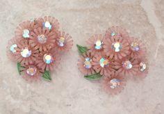 Pink Flower Earrings Plastic AB Rhinestones Clip On by cutterstone
