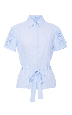 Ruched Short Sleeve Shirt with Belt by Blumarine for Preorder on Moda Operandi