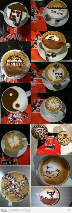 Art All Done By the Same Person Coffee art all done by the same person. Where can I get coffee like this?Coffee art all done by the same person. Where can I get coffee like this? Coffee Latte Art, I Love Coffee, Starbucks Coffee, My Coffee, Coffee Drinks, Morning Coffee, Coffee Shop, Coffee Lovers, Coffee Break