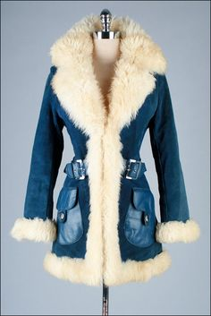 1970s Blue suede coat w/ shearling trim