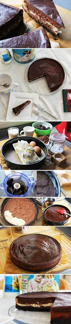 Cheesecake de chocolate con base de Oreo / http://www.saborencristal.com/
