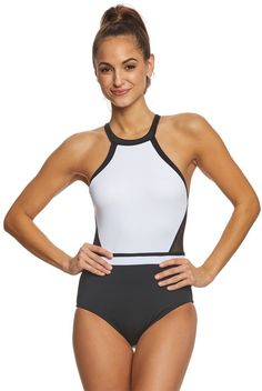 90838583440 Jantzen Black   White HBack One Piece Swimsuit - 8167656