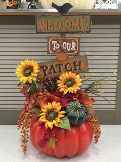 2016 Pumpkin by Andrea Pumpkin Arrangements, Fall Flower Arrangements, Pumpkin Centerpieces, Fall Pumpkin Crafts, Fall Pumpkins, Fall Crafts, Fall Harvest Decorations, Thanksgiving Decorations, Dollar Tree Fall