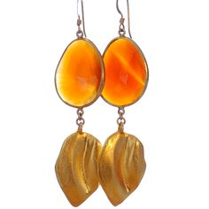 Natural carnelian and vintage gold vermeil leaves