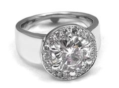 Wide Band Diamond Halo Engagement Ring in 14k White Gold