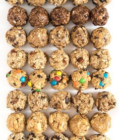Your snack game will never be the same once you try these no-bake oatmeal energy balls. Includes eight flavor options, as well as tips for making your own. snacks Monster Cookie No-Bake Oatmeal Energy Balls Healthy Energy Ball Recipe, Healthy Protein Balls, High Protein, Protein Foods, Paleo Energy Balls, No Bake Protein Bars, Healthy Shakes, Diet Foods, Healthy Treats
