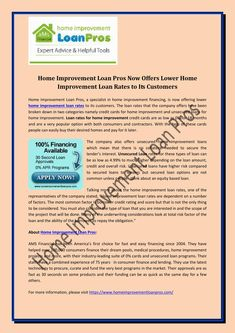 Home Improvement Loan Pros Now Offers Lower Home Improvement Loan Rates to Its Customers