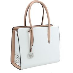 Handbag Republic White Two-Tone Rolled-Handle Tote ($35) ❤ liked on Polyvore featuring bags, handbags, tote bags, two tone tote bag, two tone handbags, strap purse, white tote and faux-leather handbags