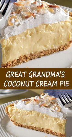 Köstliche Desserts, Delicious Desserts, Yummy Food, Baking Recipes, Cake Recipes, Dessert Recipes, Coconut Recipes No Bake, Best Coconut Pie Recipe, Easy Pie Recipes