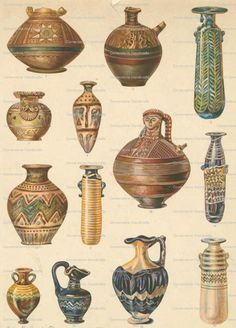 Antique Pottery 104 VINTAGE Collage Sheet Instant by joapan, $1.49
