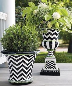 We've updated the classic Roman urn with a dynamic, hand-painted design and a finish that mimics glazed ceramic. Perfect addition to your entryway or garden.