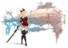 Edea & Airship - Bravely Default: Flying Fairy (Import) Concept Art
