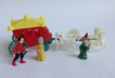 Vintage 1960s Cinderella Birthday Cake Topper Decorating Set With Horse Carriage #Unknown