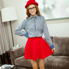 Women's Tartan Plaid Check Pattern Button Down Long Sleeve Blouse