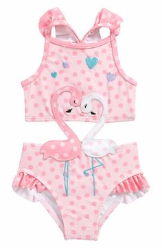 Sol Swim Flamingos in Love Cutout One-Piece Swimsuit (Baby Girls) Great Flamingo Party Baby & Toddler Clothing, Toddler Fashion, Toddler Girl, Kids Fashion, Kids Swimwear, Swimsuits, My Baby Girl, Baby Girls, Girl Soles