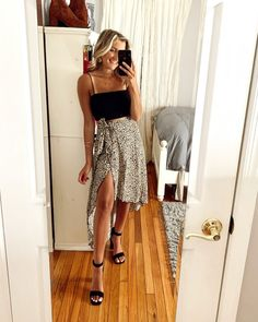Long Skirt Outfits For Summer, Black Skirt Outfits, Midi Skirt Outfit, Cute Casual Outfits, Simple Outfits, Sorority Recruitment Outfits, Look Cool, Summer Vibes, Rush Week