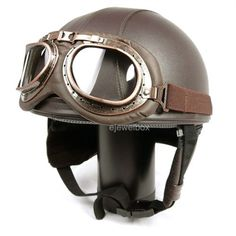 Retro Half Leather Helmet with Free Goggles