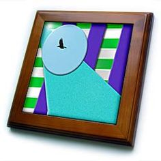 A Bird in Disc of Blue with Layers of Purple, Green and Aqua Textured Framed Tile