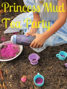 {princess mud tea party} Oh my goodness. I absolutely *love* the photos of this little lady wearing her princess dress covered completely in mud. Too cool? Would you let your daughter do this? Be honest! :-) I Would