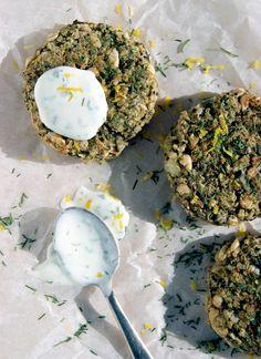 White Bean, Quinoa, Spinach, and Lemon Patties with Dill Yogurt Sauce (Vegan, Gluten-free)