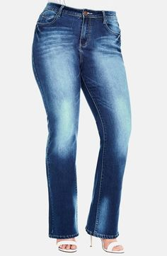 City Chic 'Clean Cut' Stretch Bootcut Jeans (Mid Denim) (Plus Size) available at #Nordstrom