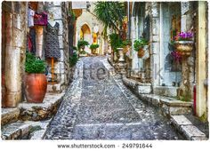 charming old streets of Provence villages, France, artistic pctu - stock photo