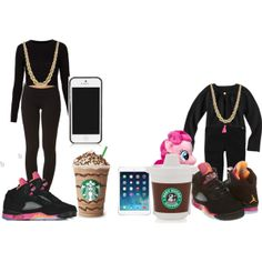 """""""Starbucks with Mommy"""" by deonnagoodall on Polyvore cheap air jordan 5 only $59, save up to 59% off for all #Nikes #Shoes"""