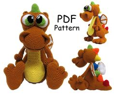 Crochet toy Amigurumi Pattern  Dragon. by LilikSha on Etsy
