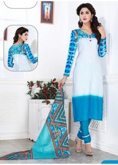 Office Wear White & Sky Blue Cotton Churidar Suit  - 74828