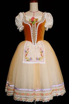 Coppelía Peasant Tutu, wish my costume looked like that Dance Recital Costumes, Broadway Costumes, Girls Dance Costumes, Tutu Costumes, Ballet Costumes, Ballet Wear, Ballet Tutu, Ballet Russe, Long Tutu