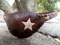 Wasteland Oddities Custom Distressed Leather Eye Patch, Tooled & Painted White Star Eyepatch, Costume or Medical Use   --RIGHT or LEFT EYE--