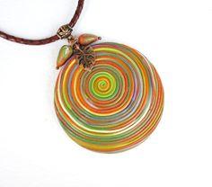 Купить Кулон Карельский Лес. Кулон из полимерной глины - кулон на шнуре, украшение на шею