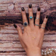 1 sets = 6 peças Novo acessórios de moda do vintage cor prata conjunto anel de dedo para as mulheres menina presente agradável J-192