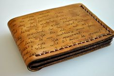 Custom personalized mens leather wallet, bifold, hand painted, real genuine leather. $36.99, via Etsy.