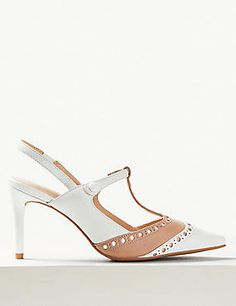 M amp S Leather Stiletto Heel T-Bar Slingback Shoes Two-tone shoes  amp e4611a028663
