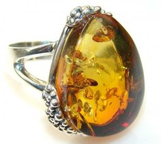Luxury Polish Amber Sterling Silver Ring s. 8 3/4