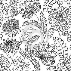Seamless Floral Retro Doodle Black White Stock Photos, Images, & Pictures – (596 Images) - Page 2