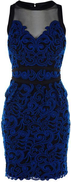 Karen Millen Blue Lace Collection Dress - Lyst