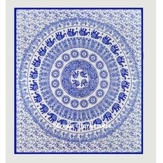 Elephant, Sun Medallion Circle Fringed Cotton Tapestry Wall Hanging