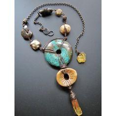 Handmade artisanfossil necklacestaci louise originals, asian style handmade, simple fossil necklace, sea glass