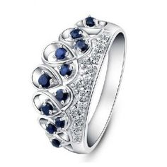 Natural Blue Sapphire 925 Sterling Silver Ring - USD $69.95