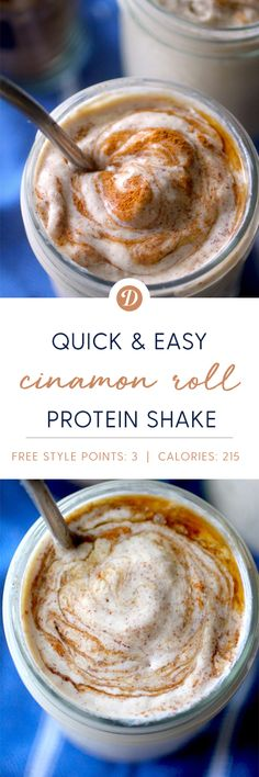 Cinnamon Roll Protein Shake is rich, creamy, and tastes like a cross between a cinnamon roll and a milkshake! And at just 215 calories and 37 grams of protein it is a satisfying and delicious breakfast, snack, or even dessert! Protein Smoothie Recipes, Protein Foods, Healthy Smoothies, Healthy Drinks, Healthy Shakes, Detox Drinks, Healthy Meals, Healthy Eating, Healthy Recipes